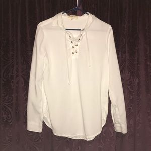 Cloth & stone white lace up shirt